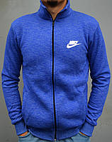 Теплая мужская кофта, толстовка Nike (Найк) | трикотаж, трехнитка - ярко-синяя