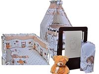 Кроватка для новорожденных  Ptilou  Jardrew + постельные принадлежности + матрас