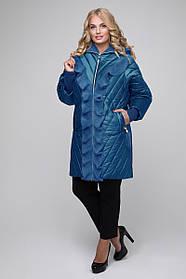 Женская удлиненная куртка с воланом 613 / размер 50,60 / цвет бирюза