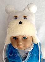 Шапки зимние для новорожденных Ушки