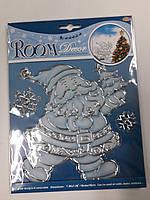 """Новогодняя оконная наклейка """"Дед Мороз в белом"""" 24см*18см"""
