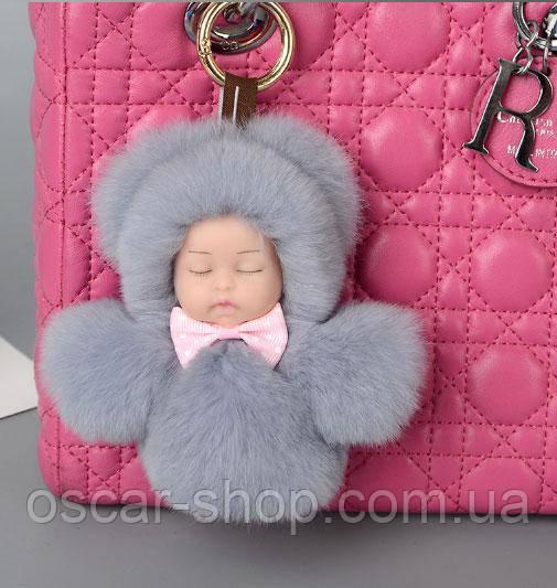 Хутряний брелок на сумку Лялечка 13 см, сірий. Натуральне хутро