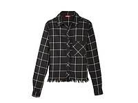 Рубашка в клетку черно-белая с бахромой детская подростковая для девочки Pepperts! 122-152