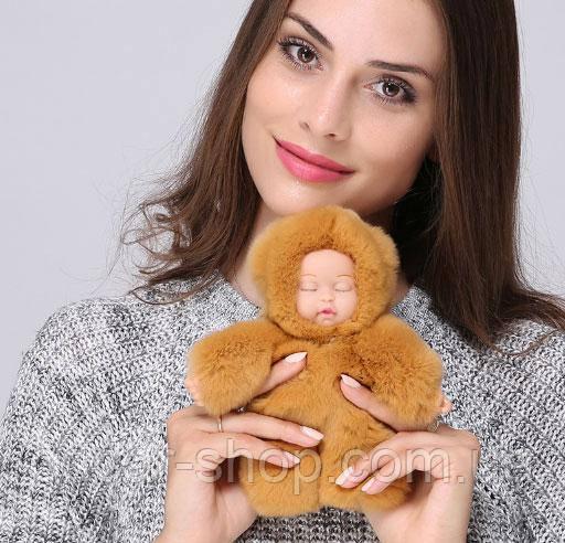 Хутряний брелок на сумку Лялечка (великий) 19 см, бежевий. Натуральне хутро