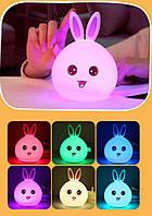 Нічник / світильник тач у вигляді Зайчика змінює колір від дотику. Рожеві вушка . Працює від USB