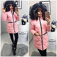 Модное зимнее пальто женское на холофайбере с капюшоном мята,пудра,черная ,рры 42,44,46