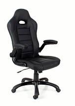 Кресло компьютерное кожаное ЕКО 24604 черное, фото 3