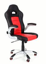 Кресло компьютерное кожаное ЕКО 24604 черно-красное, фото 2