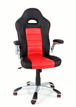 Кресло компьютерное кожаное ЕКО 24604 черно-красное, фото 3