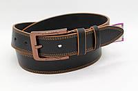 Ремень кожаный классический 40 мм чорный с коричневой ниткой c коричневой пряжкой