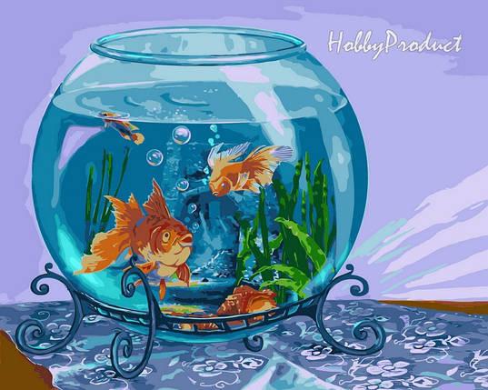 Набор-раскраска по номерам Золотые рыбки худ. Цыганов Виктор, фото 2