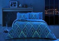 Светящееся постельное белье сатин евро TAC GINA V02 PEMBE SV17