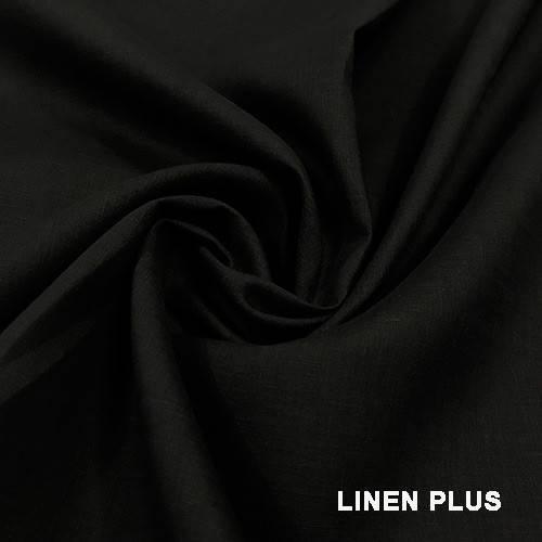 Черная льняная ткань, цвет 147