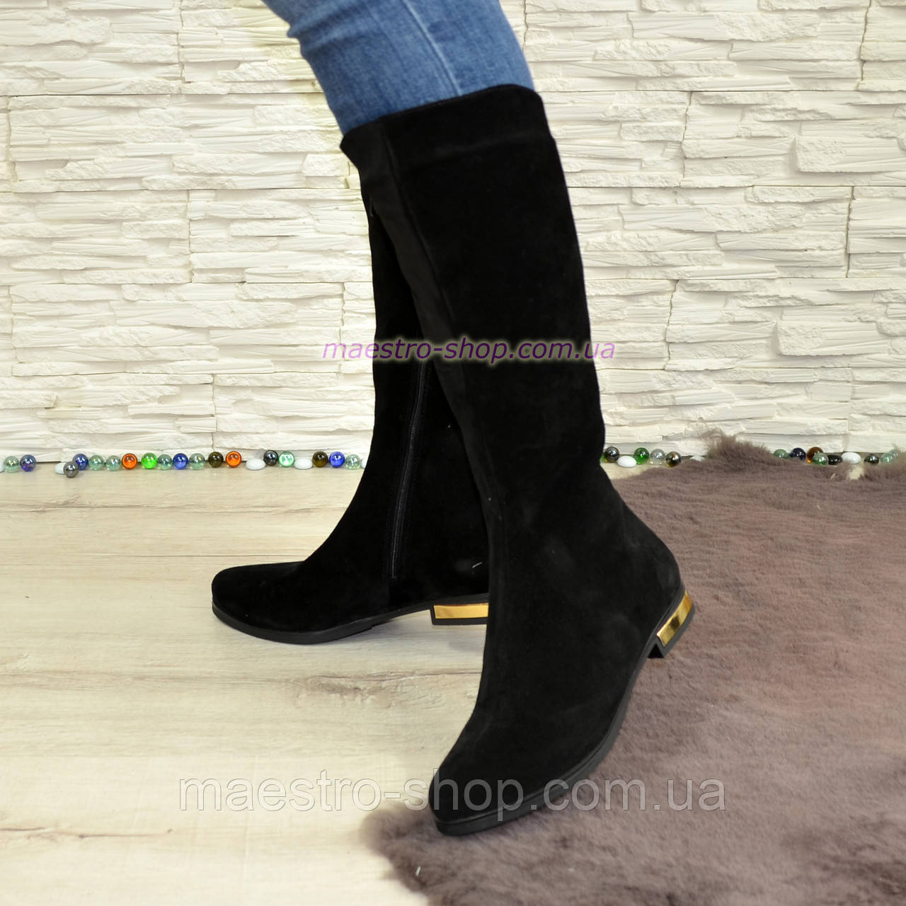 d5431792 Сапоги женские зимние замшевые черные на низком ходу. - Stivale -  производство кожаной женской,