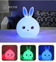 Ночник / светильник тач в виде Зайчика меняет цвет от прикосновения. Голубые ушки с Пультом. Работает от USB, фото 1