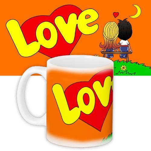 Кружка с принтом Любовь Love is... оранжевая (KR_L127)