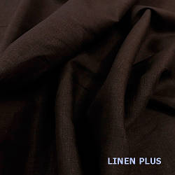 Темно-коричневая льняная ткань 100% лен, цвет 403