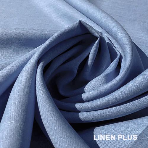 Синяя льняная ткань, 100% Хлопок, цвет 435