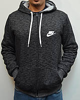 Толстовка Nike - остались размеры:44,46,48 / Трехнитка, Утепленная мужская кофта на молнии - Черная