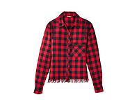 Блуза рубашка в клетку красная с бахромой детская подростковая для девочки Pepperts! 122, 140, 146