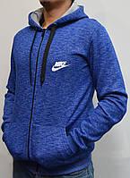 Теплая мужская толстовка с капюшоном на молнии Nike (Найк)   трехнитка, ярко-синяя