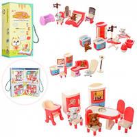 Игровой набор кукольной мебели 4в1, комнаты, мишка