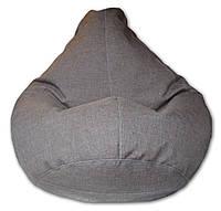 Серое кресло-мешок груша 120*90 см из микророгожки