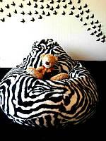 Кресло-мешок груша Зебра 120*90 см из искусственного меха, фото 1