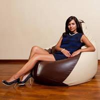 Бежево-коричневое кресло-мешок груша 120*90 см из кож зама Зевс