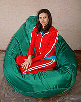 Мега большое кресло-мешок груша зеленое 140*100 см из ткани Оксфорд, фото 1
