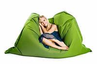 Горчично-салатовое кресло мешок подушка 120*140 см из микро-рогожки, кресло-мат