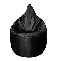 Черное бескаркасное кресло мешок Капелька из ткани Оксфорд