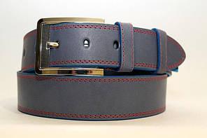 Стильний джинсовий  ремінь з натуральної шкіри  45мм, гладкий,темно-синій  прошитий червоною ниткою