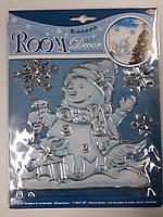 """Новогодняя оконная наклейка """"Снеговик в белом"""" 24см*18см"""