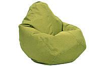 Салатовое кресло-мешок груша 100*75 см из микро-рогожки