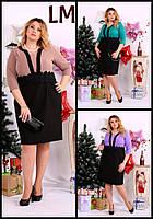 Платье Р 52,54,56,58,60 красивое женское батал 770655 новогоднее деловое миди вечернее черное голубое бежевое