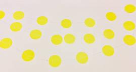 Бумажная гирлянда из кругов, 2 метра желтая
