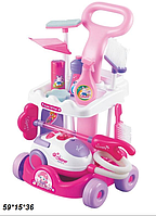 Детский игровой набор для уборки с тележкой  A5952 розовая ***
