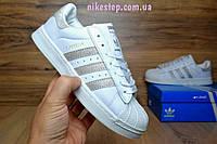 Подростковые кроссовки Adidas superstar белые с серебром