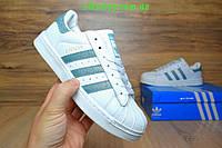 Подростковые кроссовки Adidas superstar белые с бирюзой