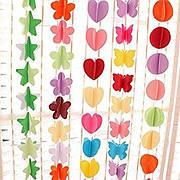 Бумажные гирлянды: бабочки, сердечка, звездочки