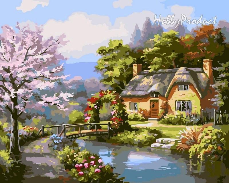 Набор-раскраска по номерам Мостик к дому худ. Сунг Ким