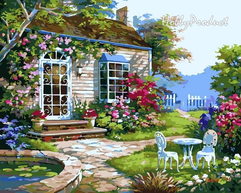 Набор-раскраска по номерам Домик в цветах худ. Сунг Ким