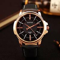 Мужские часы Yazole 358 черные с черным ремешком
