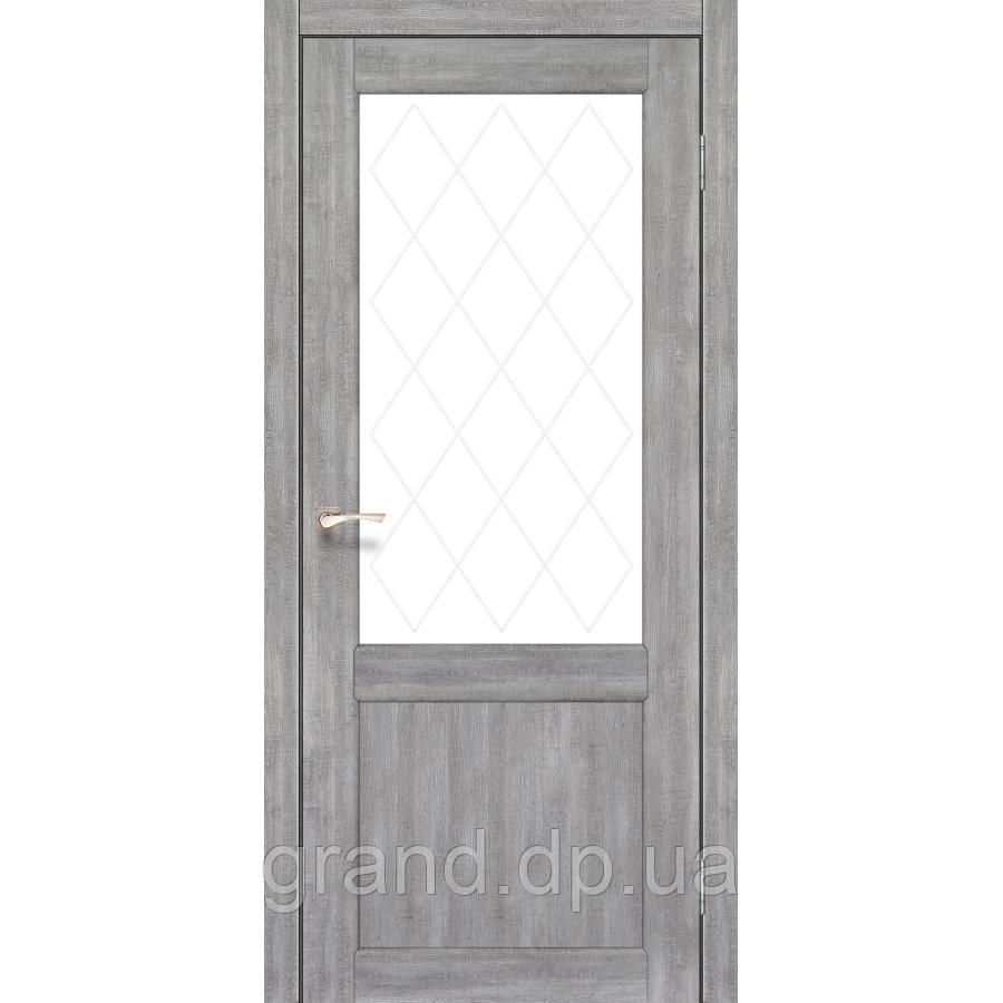 Двери межкомнатные Корфад CL-01 эш вайт с матовым стеклом