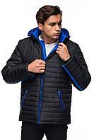 Мужская зимняя куртка с капюшоном.  черный -электрик