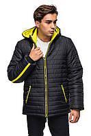 Мужская зимняя куртка с капюшоном.  черный-лимон