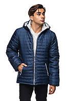 Мужская зимняя куртка с капюшоном.  синий с белым