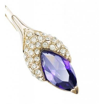 Сережки з кристалами Сваровські es25 фіолетові, фото 2