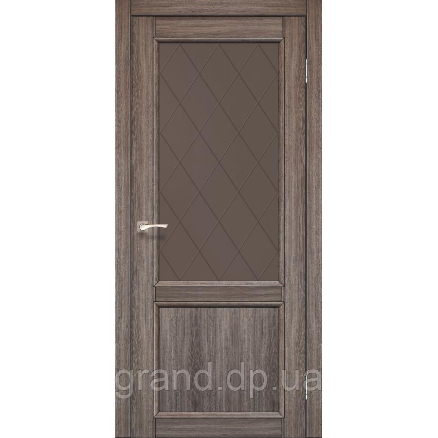 Двери межкомнатные Корфад CL-02 дуб грей с бронзовым стеклом